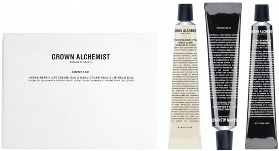 GROWN ALCHEMIST Amenity Kit - zestaw: arbuzowy balsam do ust 12ml, nawilżający krem do twarzy 12ml, krem do rąk 20ml